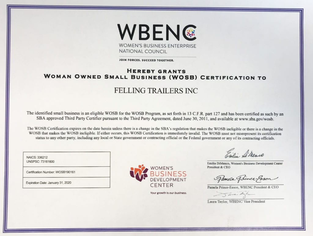 WBENC - Woman Owned Small Business Certificate - Felling Trailers